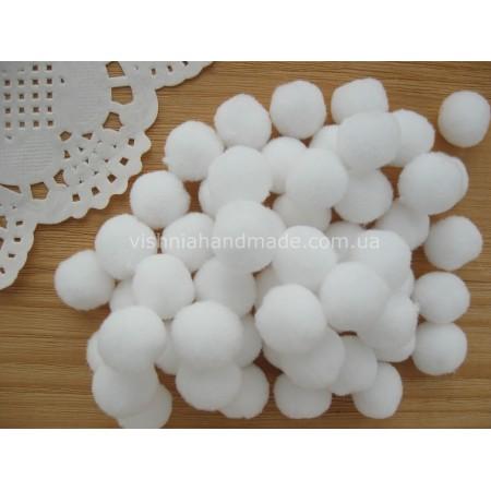 Белые бархатные помпоны для рукоделия, 15 мм, 10 шт