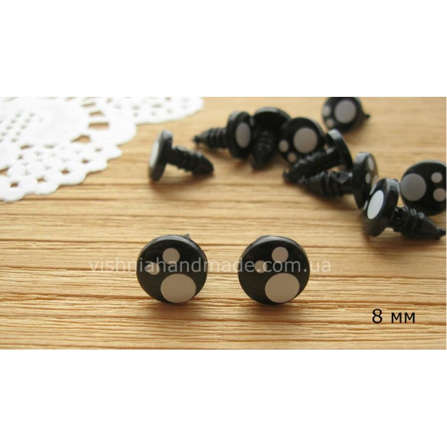 Глазки-винтики черные с белыми бликами 8 мм, 2шт. без фиксаторов