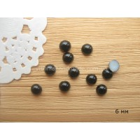 Полубусины черные 6 мм, 50 шт