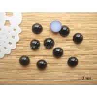 Полубусины черные 8 мм, 50 шт