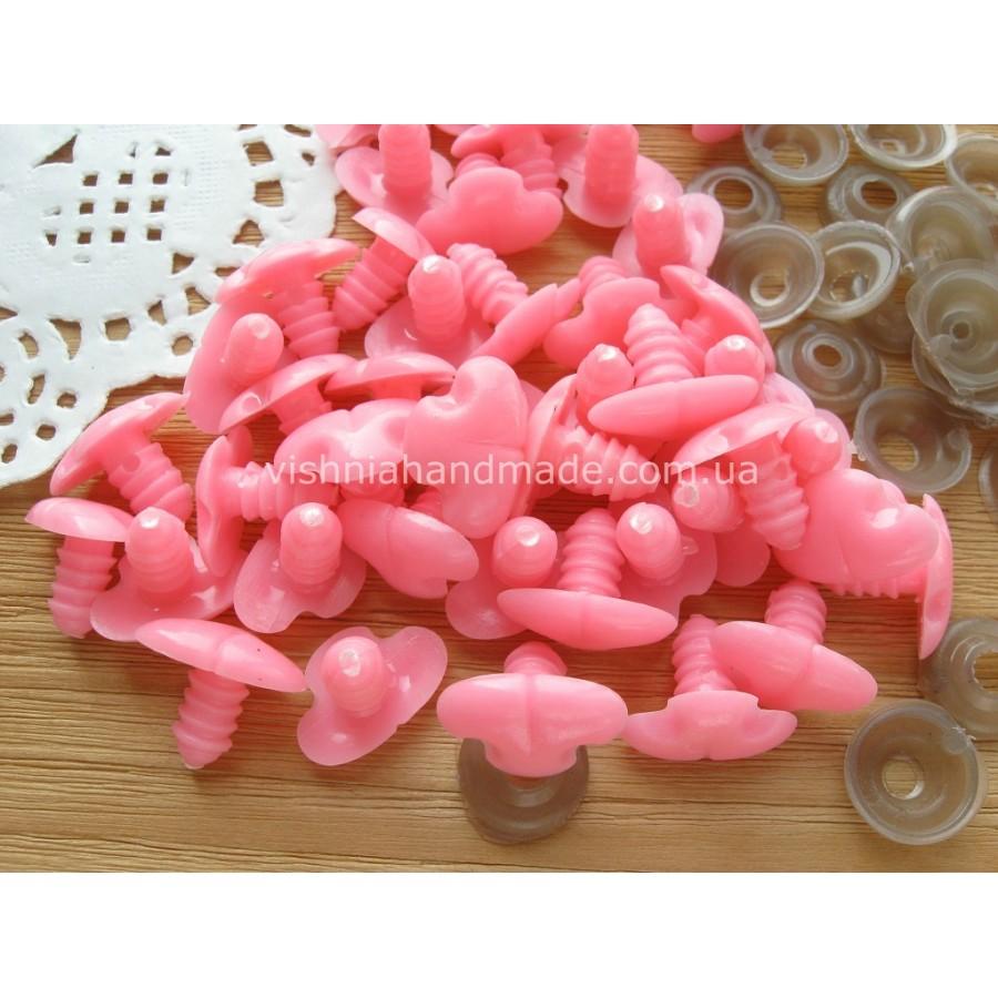 12*17 мм розовые безопасные носики винтики для мишек с заглушками, 1 шт