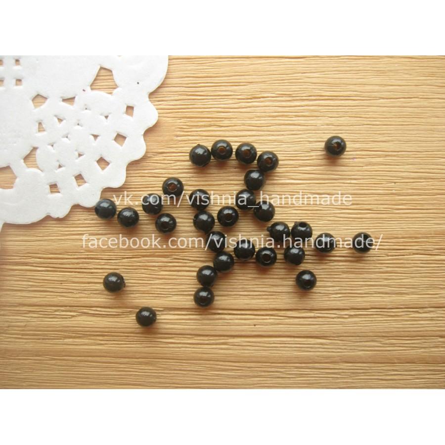 Черные акриловые бусины 4 мм