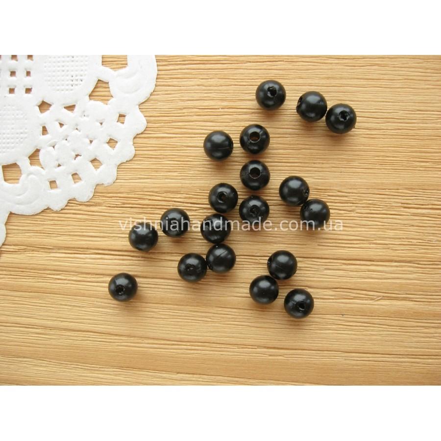 6 мм круглые черные акриловые бусины для глазок, 30 шт