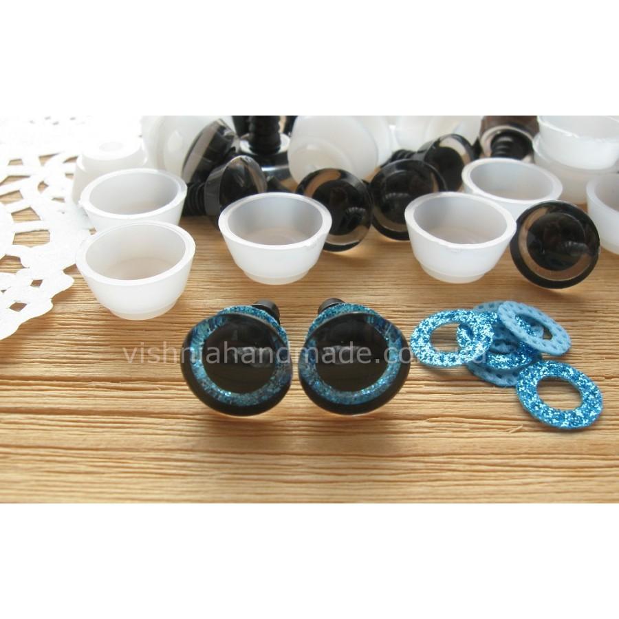 12 мм голубые блестящие безопасные глазки винтики для игрушек с заглушками, пара (2 шт)