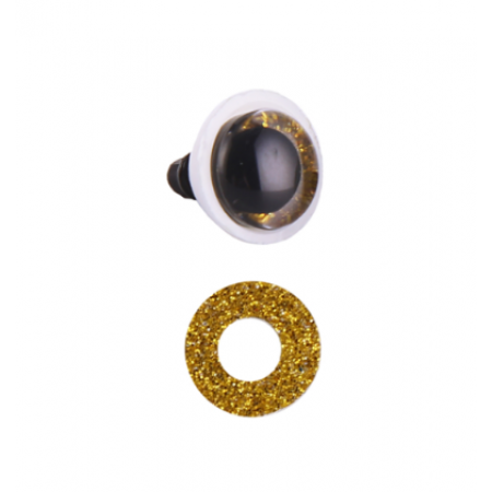 12 мм золотые блестящие безопасные глазки винтики для игрушек с заглушками, пара (2 шт)