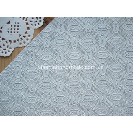 Белая резина с надписью FAVOR для подошвы кукольной обуви 1.2 мм, 9.5*19 см
