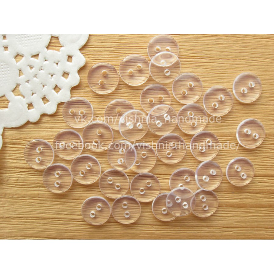 Пуговицы прозрачные круглые, 10 мм