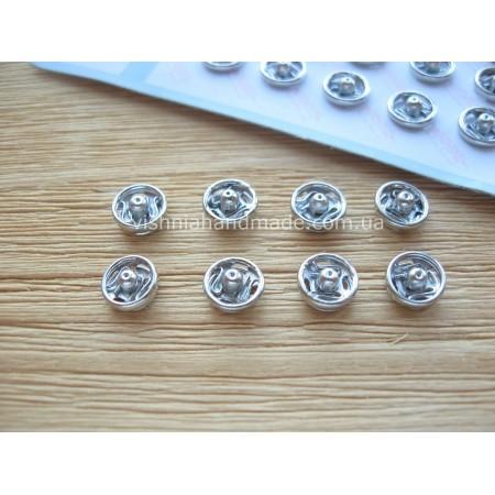 Серебряные мини кнопки для кукол, 6 мм, 1 шт