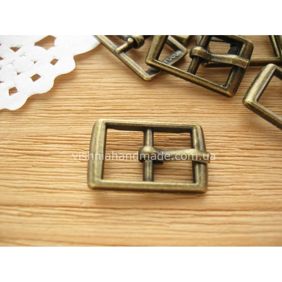 Пряжка для кукольного ремня прямоугольная бронзовая, 20*13 мм