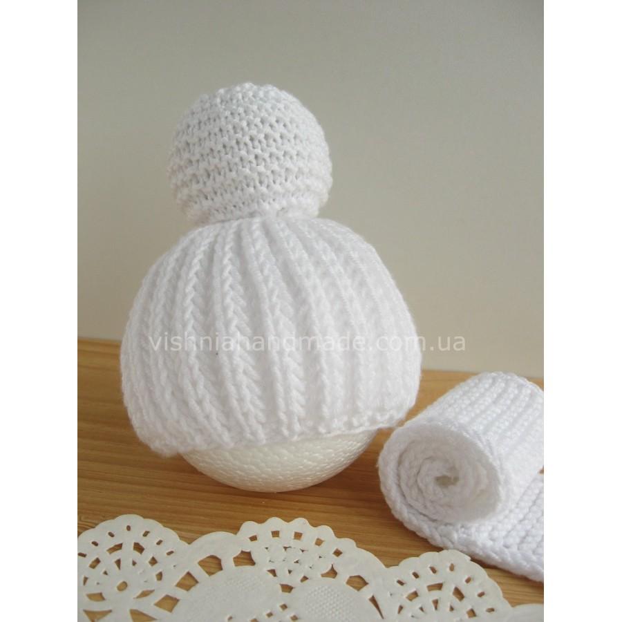 Шарф и шапочка для куклы ПОД ЗАКАЗ, ВЫБОР ЦВЕТА И РАЗМЕРА с белым помпоном, без шва