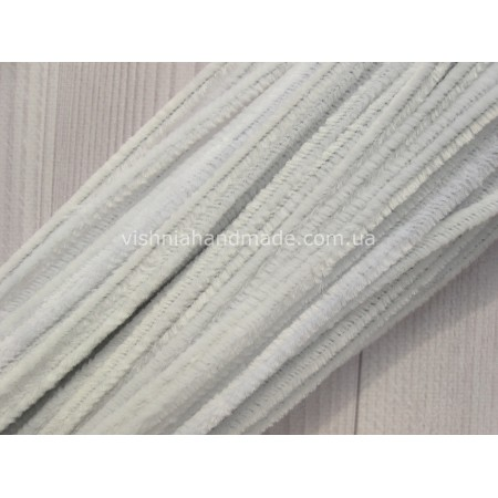Белая синельная (пушистая) проволока 30 см шт, 10 шт