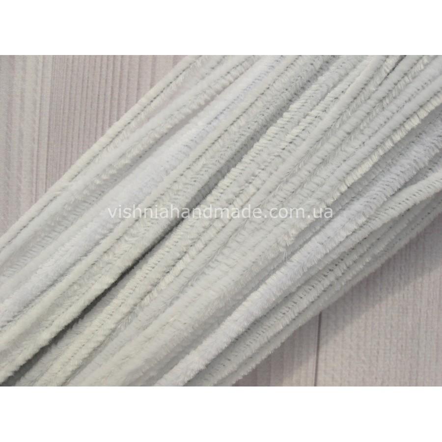 Белая синельная (пушистая) проволока 30 см шт, 1 шт