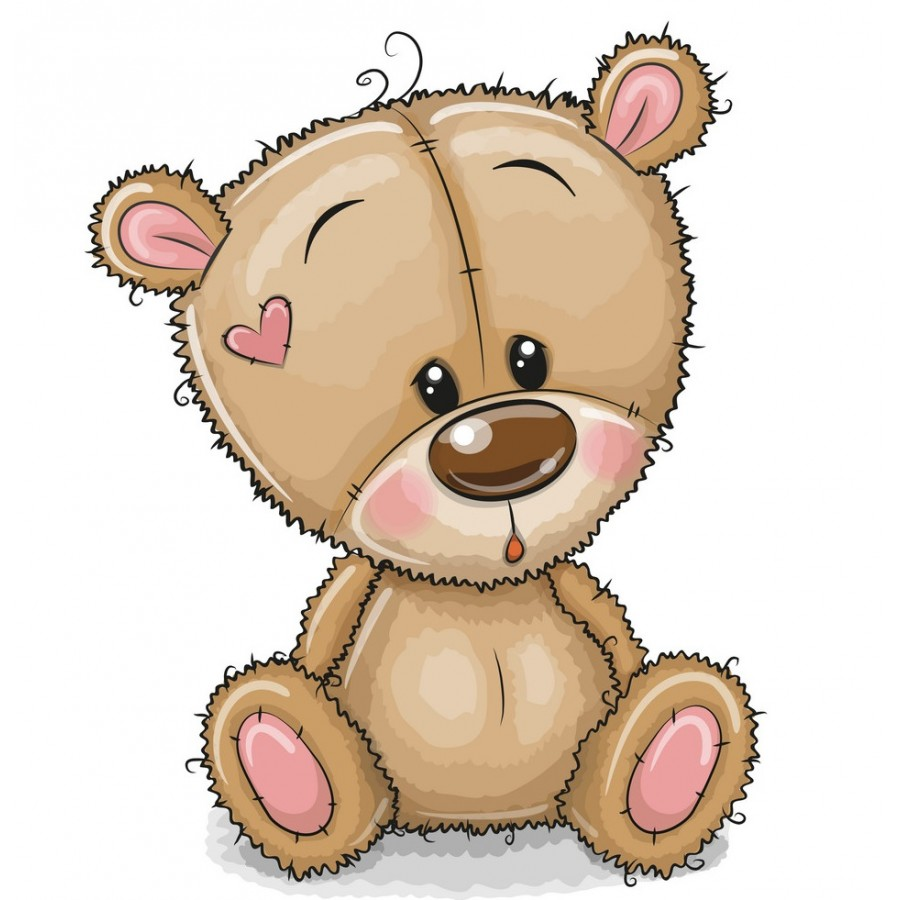 """Термонаклейка для кукол """"Мишка с сердечком"""", 3 см"""