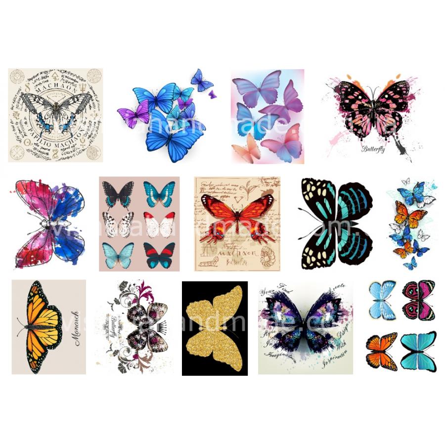 """Термотрансферные наклейки """"Бабочки"""", для белый тканей"""