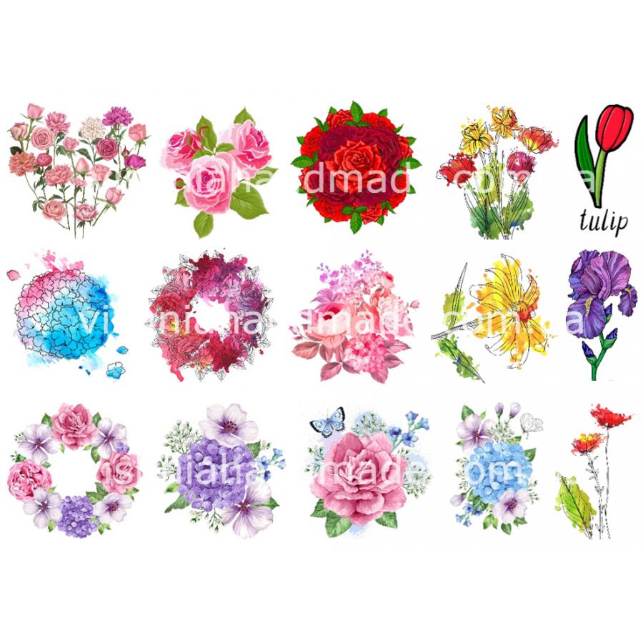 Термонаклейки для кукол «Цветы», для белых тканей