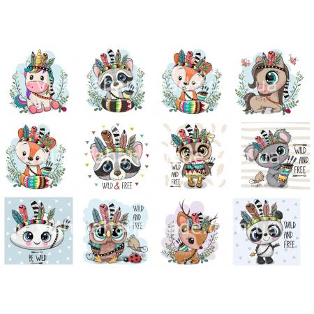 Термонаклейки для кукол «Зверята индианцы», для белых тканей Ар. 480010