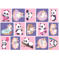 Термонаклейки для кукол «Единороги и панды», для черных/цветных тканей Ар. 480069