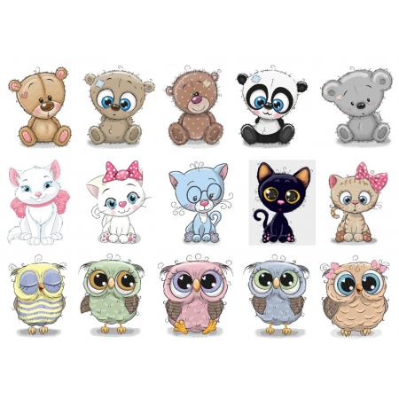 Термонаклейки для кукол «Мишки, котики, совы», для белых тканей Ар. 480021
