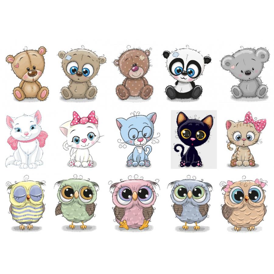 Термонаклейки для кукол «Мишки, котики, совы», для белых тканей