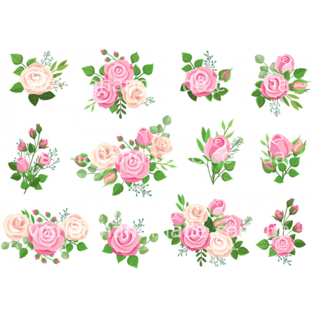 Термонаклейки для кукол «Розовые розы», для белых тканей Ар. 480060