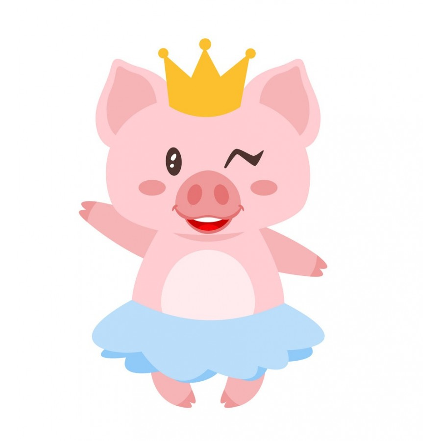 """Термотрансферная наклейка """"Свинка в короне"""", 3 см"""