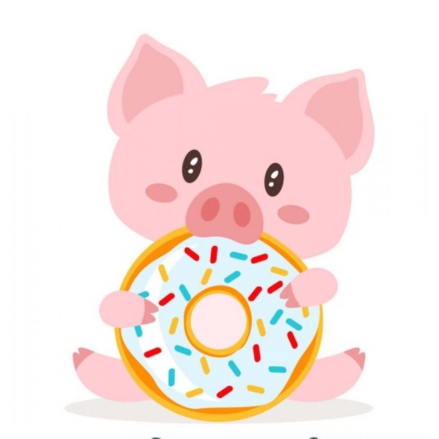 """Термотрансферная наклейка """"Свинка с пончиком"""", 3 см"""