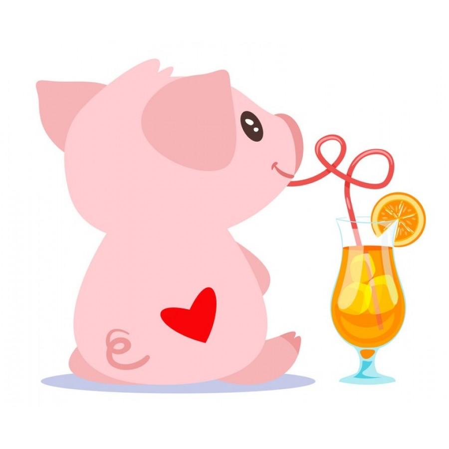 """Термотрансферная наклейка """"Свинка с бокалом"""", 3 см"""