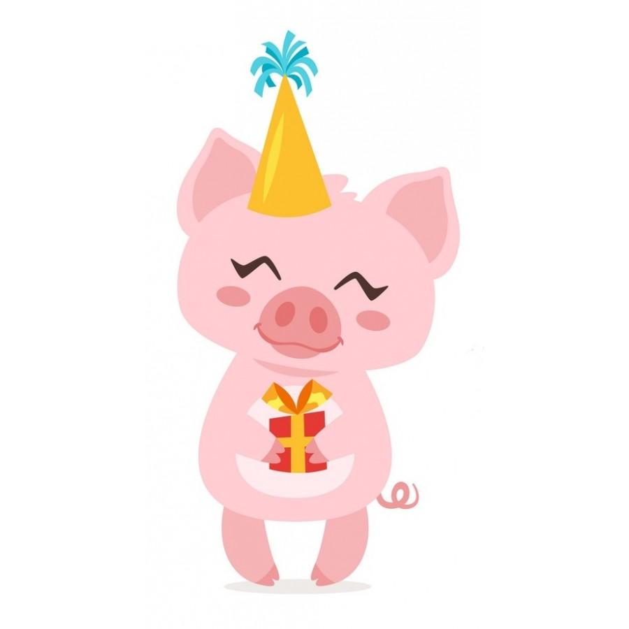 """Термотрансферная наклейка """"Свинка с подарком"""", 3 см"""