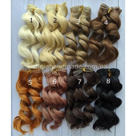 Волосы трессы для кукол ВОЛНА (натуральные оттенки), 15 см, выбор цвета