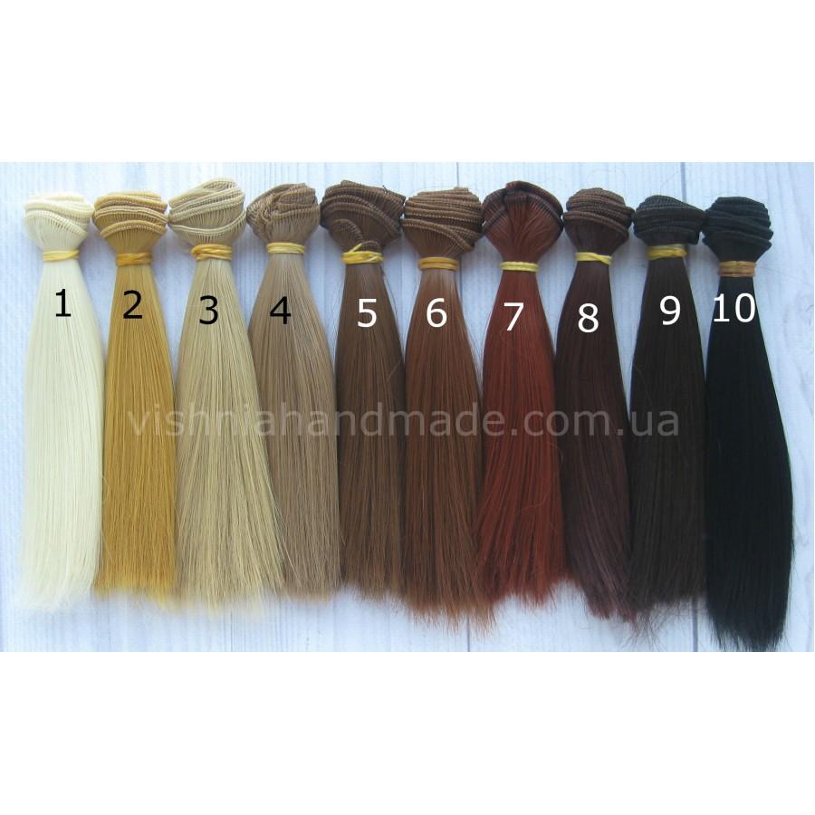 Волосы трессы для кукол прямые (натуральные оттенки), 15 см, выбор цвета