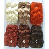 Натуральные волосы трессы козочка для кукол волнистые, 18 см, выбор цвета