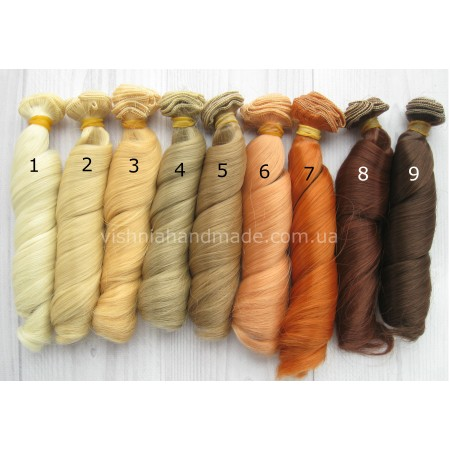 Волосы трессы для кукол локоны, 15 см (25 см в растянутом виде), выбор цвета