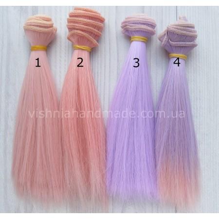 Волосы трессы для кукол прямые розовые, голубые, сиреневые15 см, выбор цвета