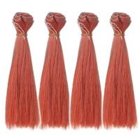 Волосы трессы для кукол прямые, 25 см, красно-оранжевый