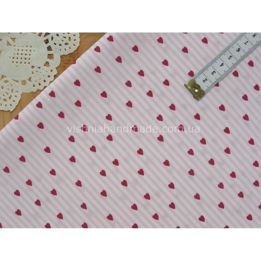 """Германский хлопок """"Малиновые сердечки на розовой-белой полосочке"""", 30*38 см"""