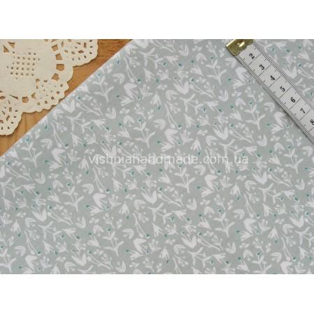 """Китайский сатин """"Кремовые веточки на серо-зеленом"""", 25*40 см"""