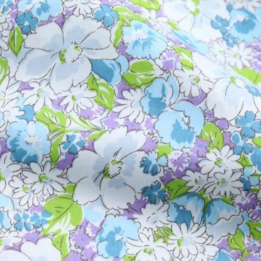"""Отрез сатина для рукоделия """"Фиолетовые голубые хризантемы"""", 50*40 см"""