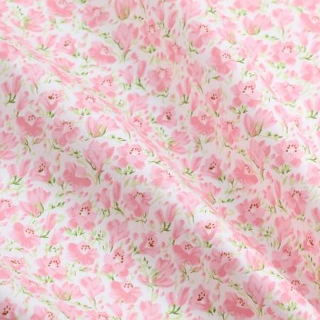 """Отрез сатина для рукоделия """"Густые розовые цветочки на молочном"""", 50*40 см"""