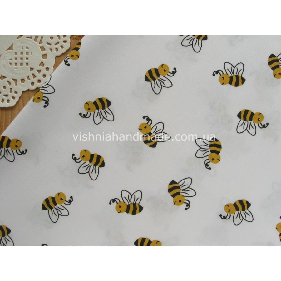 """Отрез германского хлопка для рукоделия """"Пчелки"""", 30*36 см"""