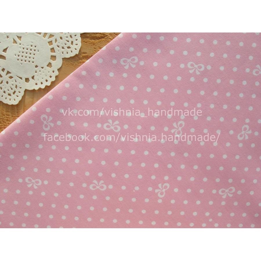 """Китайский сатин """"Белые бантики и горох на розовом"""", 25*40 см"""
