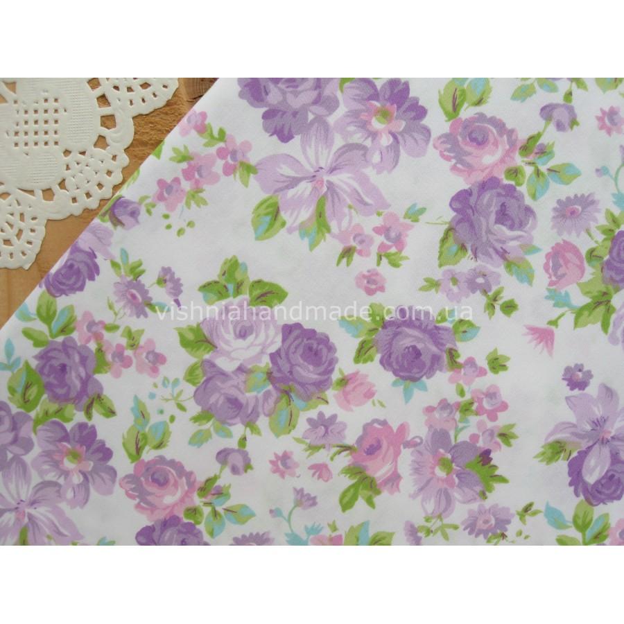 """Китайский сатин """"Средние фиолетовые цветы на белом"""", 25*40 см"""