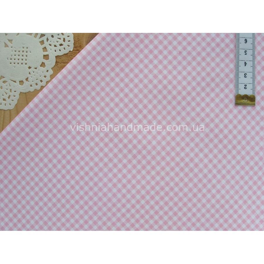 """Китайский сатин """"Розовая клетка 3 мм на белом"""", 24*40 см"""