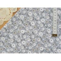 """Китайский сатин """"Бежевые, серые и молочные цветы на сером"""", 25*40 см"""
