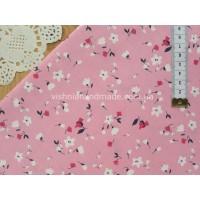 """Китайский сатин """"Красные, белые цветочки на розовом"""", 25*40 см"""