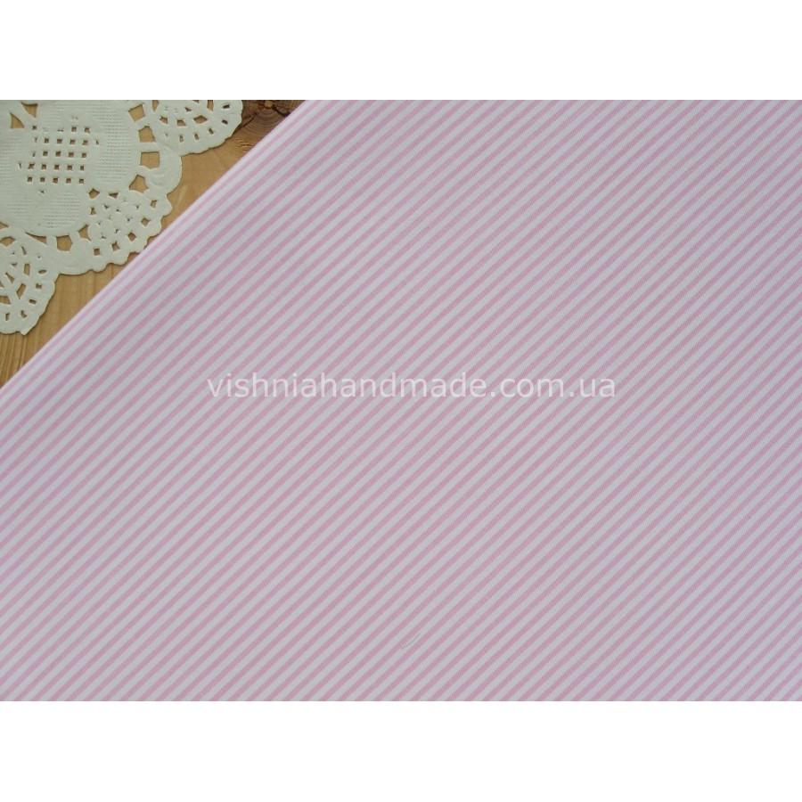 """Китайский сатин """"Розовая полоска 2 мм на белом"""", 25*40 см"""