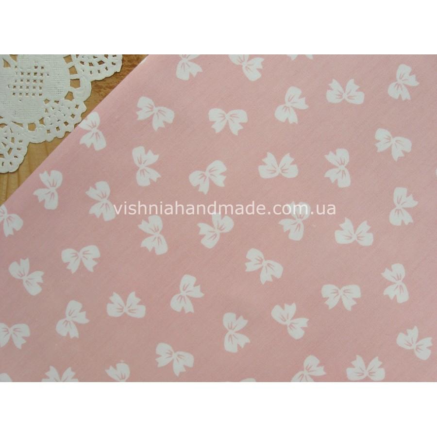 "Отрез сатина для рукоделия ""Белые бантики на розовом"", 25*40 см"