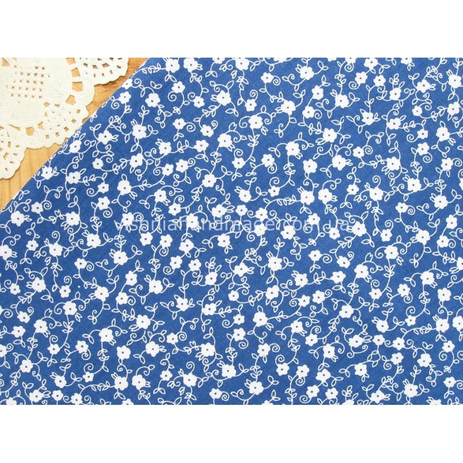 """Отрез сатина для рукоделия """"Белые цветочки на синем"""", 25*40 см"""