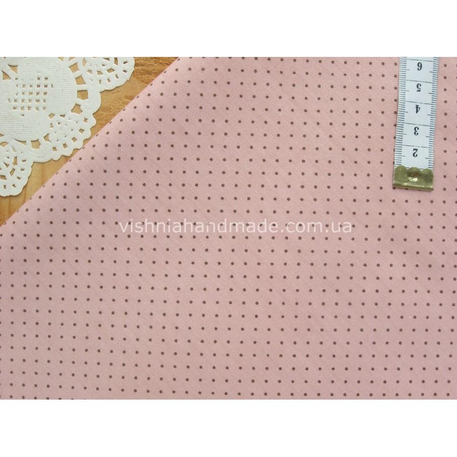 "Китайский сатин ""Коричневые точки 2 мм на грязно розовом"", 25*40 см"