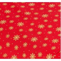 """Отрез новогоднего хлопка для рукоделия с глиттером """"Золотые снежинки на красном"""", 25*36 см"""