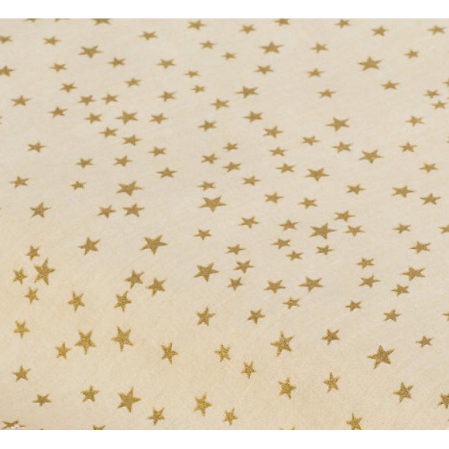 """Отрез новогоднего хлопка для рукоделия с глиттером """"Золотые звездочки на бежевом"""", 25*36 см"""